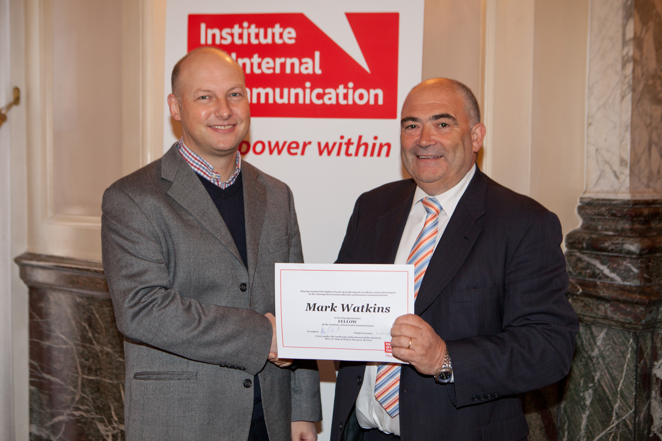 Mark Watkins (left) is elected a Fellow of the Institute of Internal Communication